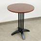 CFD68040 - Bàn cafe tròn 60cm gỗ CAO SU chân sắt chữ thập cong