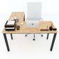 Bàn chữ L 140x140 hệ Oval Concept lắp ráp HBOV015