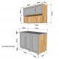 Hệ tủ bếp mini gỗ cao su 1m2 nhỏ gọn hiện đại BTB68012