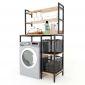 Kệ máy 3 tầng giặt gỗ cao su khung sắt KMG68006