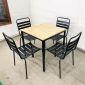 Bộ bàn Cafe mặt gỗ cao su và 4 ghế sắt sơn tĩnh điện CBCF040