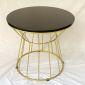 Bàn sofa tròn gỗ cao su khung sắt màu vàng đồng TT68100