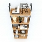 Kệ áp tường 5 tầng gỗ cao su khung sắt KTT68020