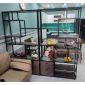Hệ kệ trưng bày có tủ gỗ cao su khung sắt 200x30x180cm KTB68077
