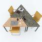 Bàn cụm 3 gỗ cao su hệ Lego chân sắt lắp ráp HBLG004