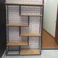 Kệ sách trang trí L-SHELF khung sắt gỗ cao su KTB68034