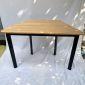 Bàn hình thang gỗ Plywood hệ Lego chân sắt Oval HBLG016