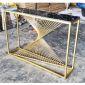 Kệ trang trí mặt đá khung màu vàng đồng 120x30x85cm KTB68085