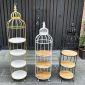 Kệ trưng bày lồng chim 4 tầng khung màu vàng đồng KTB68083