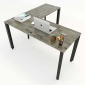 Chân bàn chữ L chỗ ngồi hệ Trian Concep 140x140 lắp ráp HCTA014
