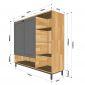Tủ kệ giày 5 tầng có cửa gỗ cao su chân sắt 120x35x110cm KG68028