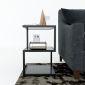 Bàn bên sofa gỗ cao su khung sắt SST006