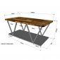 Bàn sofa 2 tầng khung sắt mặt gỗ cao su TT68153