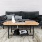 Bàn sofa oval 2 tầng mặt gỗ cao su khung sắt TT68155