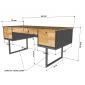 Bàn giám đốc chân kết hợp tủ gỗ cao su chân sắt BGD68054