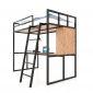 Giường tầng kết hợp bàn làm việc gỗ cao su khung sắt GT008