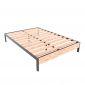 Giường ngủ đơn giản gỗ cao su khung sắt GN68034