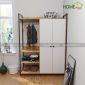 TQA68001 - Tủ quần áo kết hợp kệ treo gỗ cao su - 140x55x200 (cm)
