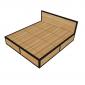 GN68001 - Giường gỗ cao su khung sắt lắp ráp - 180x200x34 (cm)