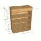 KG68008 - Tủ để giày dép bằng gỗ cao su 4 tầng có cửa và hộc kéo - 80x35x100 (cm)