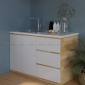 TBD68001 - Tủ bếp nhỏ gọn bằng gỗ cao su mặt đá (không bao gồm mặt đá và bồn rửa) - 120x60x80 cm