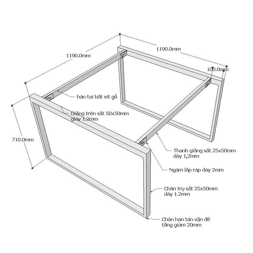 Chi tiết kích thước chân sắt hệ rectang bàn 120x120cm