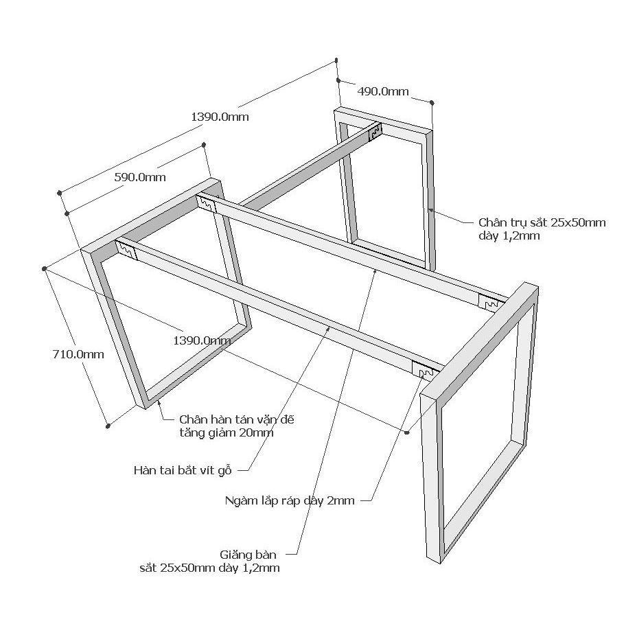 Chi tiết kích thước chân bàn rectang góc L 140x140cm