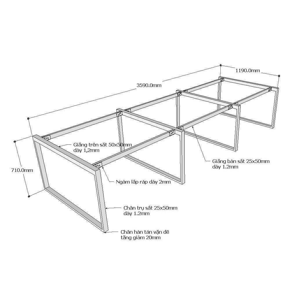 Chi tiết kích thước chân sắt bàn cụm 6 hệ Rectang