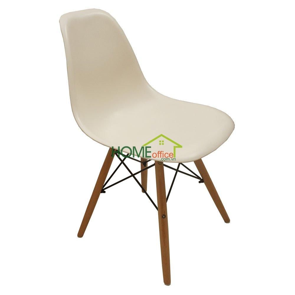 Ghế ngồi lưng nhựa Eames màu trắng