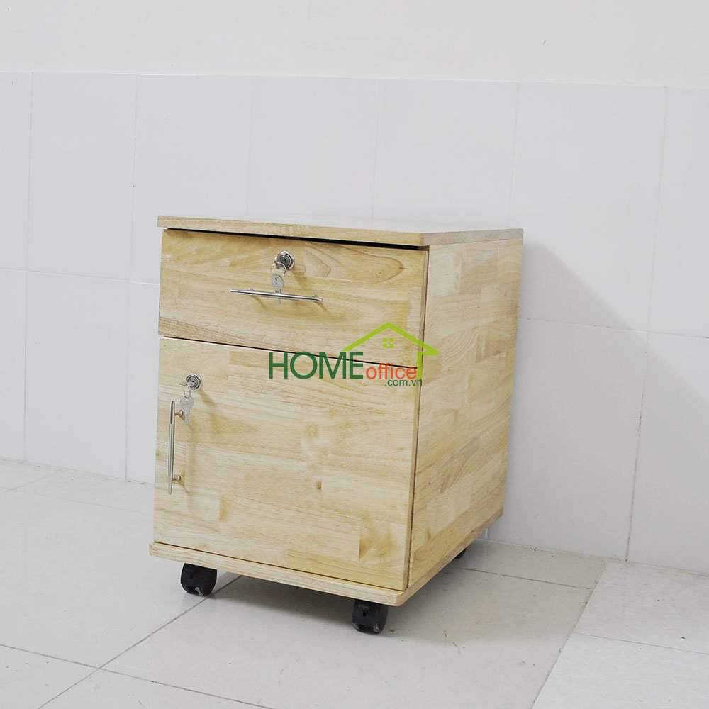 Chiếc tủ hồ sơ được làm bằng chất liệu gỗ cao su
