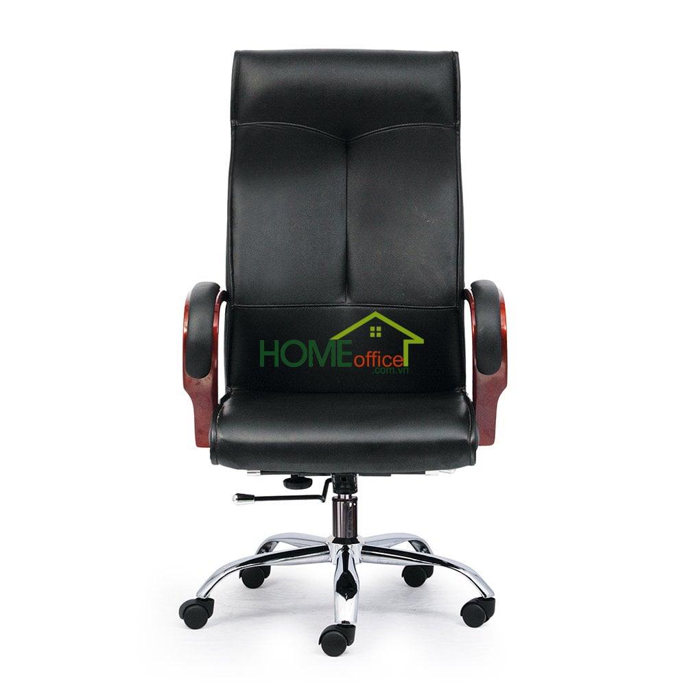 Ghế xoay giám đốc lưng cao màu đen, tay ốp gỗ