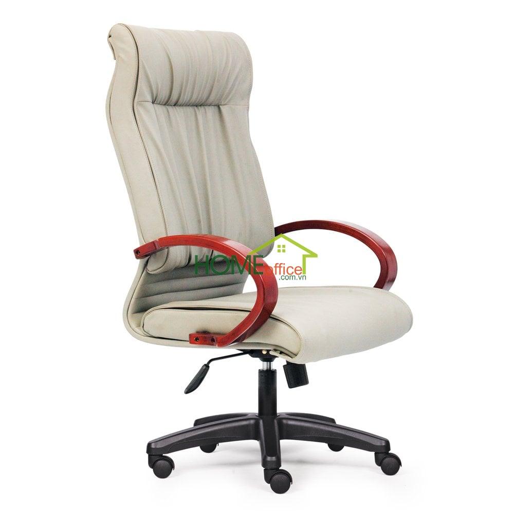 Ghế xoay văn phòng lưng cao màu kem, tay gỗ, chân nhựa