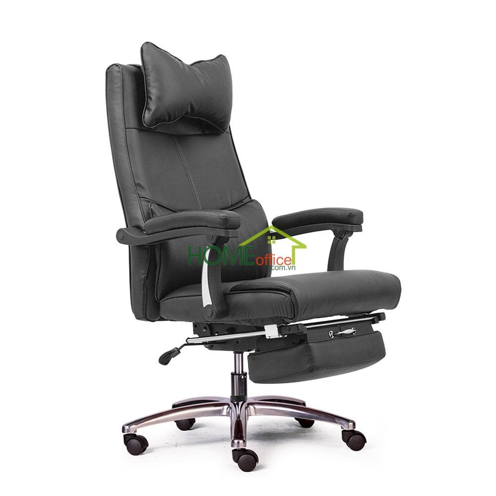 Ghế giám đốc màu đen, lưng cao, chân nhôm, 2 cần điều khiển