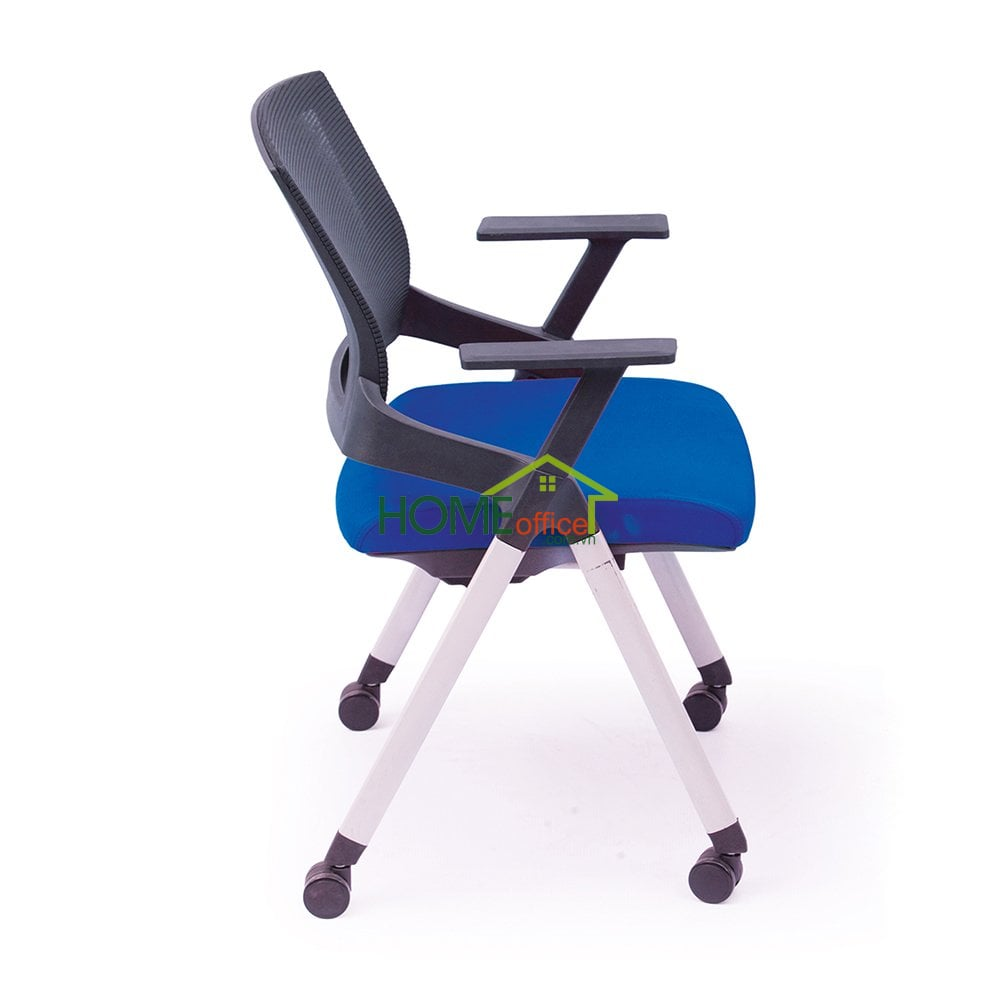 Ghế xếp văn phòng lưng lưới, nệm xanh, có bánh xe
