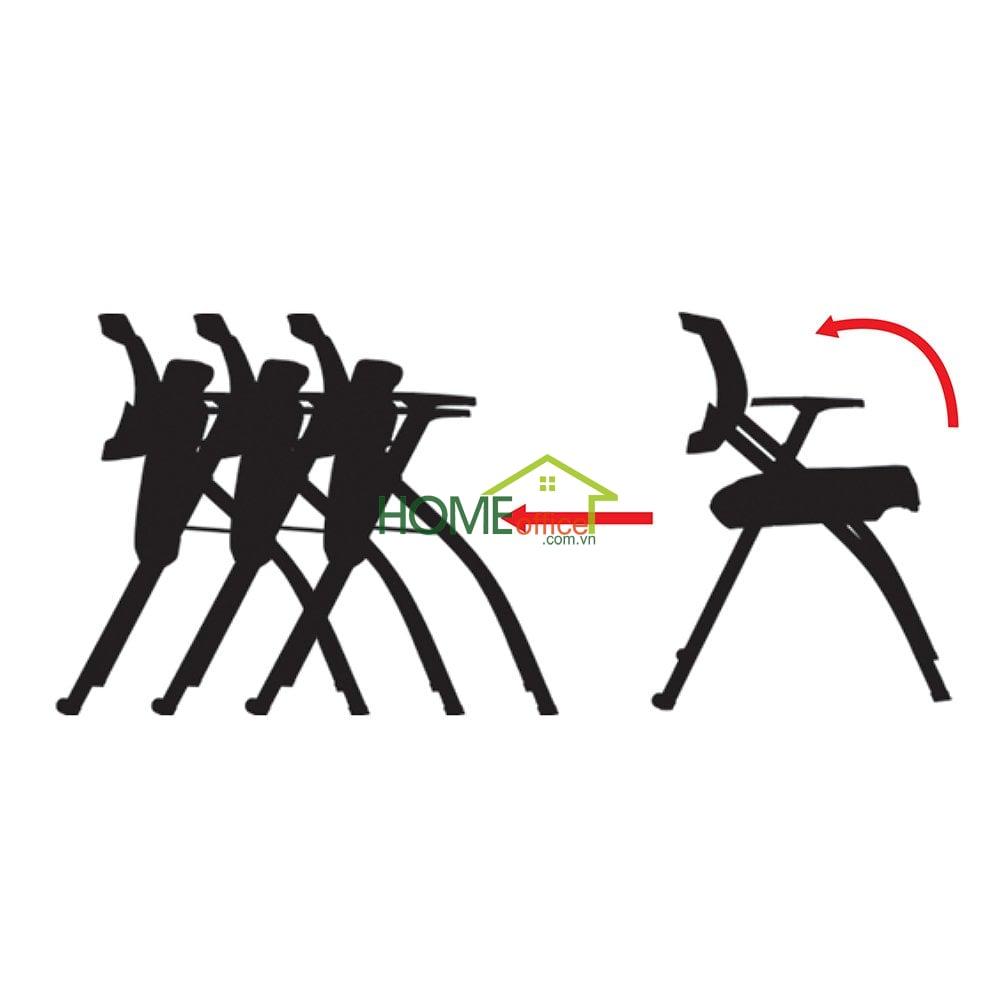 Ghế xếp văn phòng lưng lưới có bàn và bánh xe
