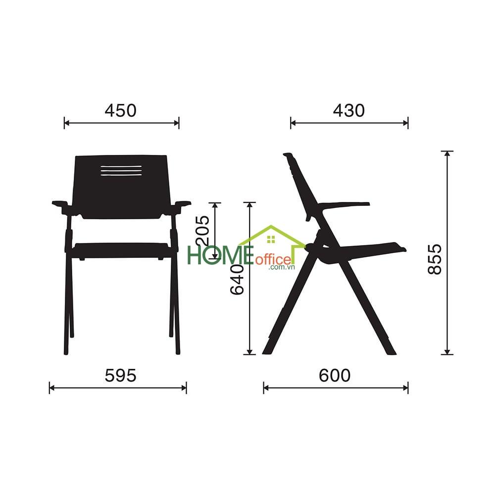 Ghế xếp văn phòng lưng nhựa, mặt ghế nhựa