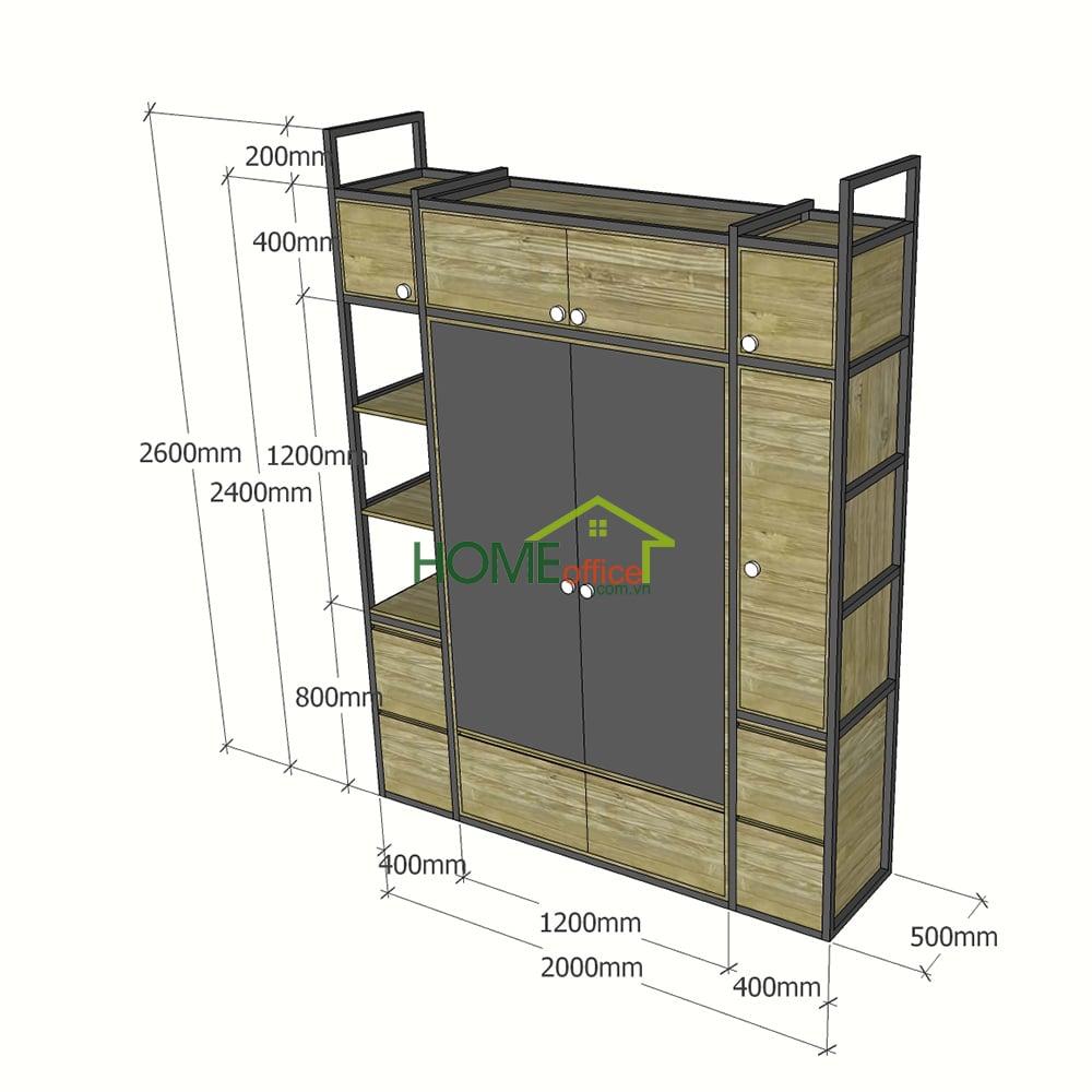 Bản vẽ chi tiết hệ kệ tủ quần áo khung sắt gỗ cao su