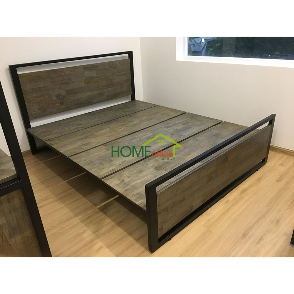 Giường ngủ khung sắt gỗ lau giả cổ