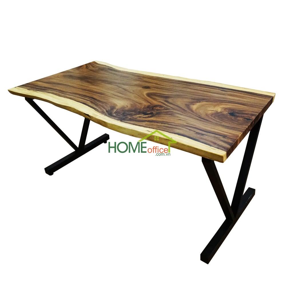 Bàn gỗ me tây dày 5cm chân sắt chữ V (80x160x78cm