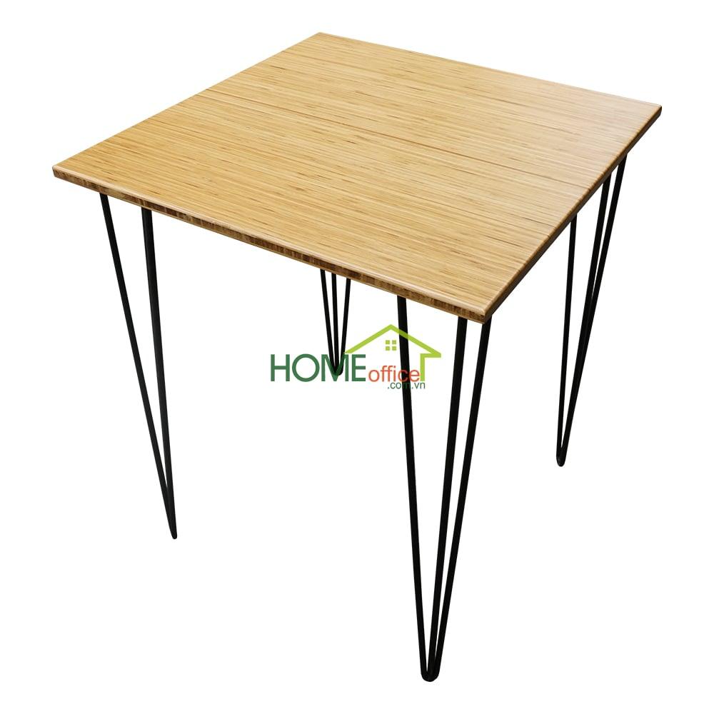 Bàn cafe vuông gỗ tre chân hairpin
