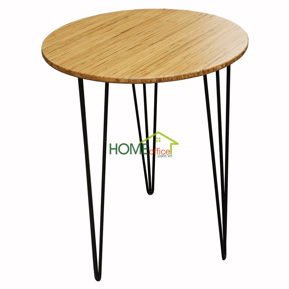 bàn cafe gỗ tre chân hairpin