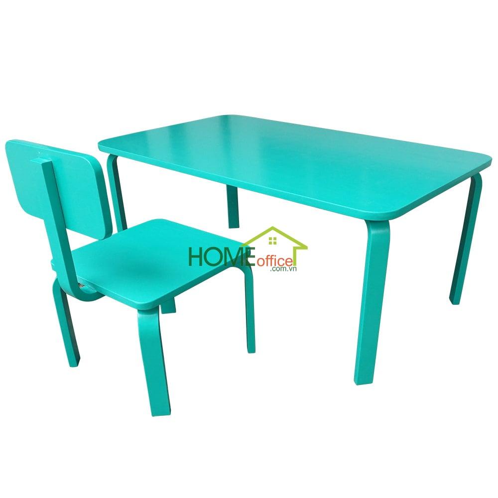 Bộ bàn ghế học tập cho trẻ em KidDesk V2 màu xanh ngọc 100x60x45cm