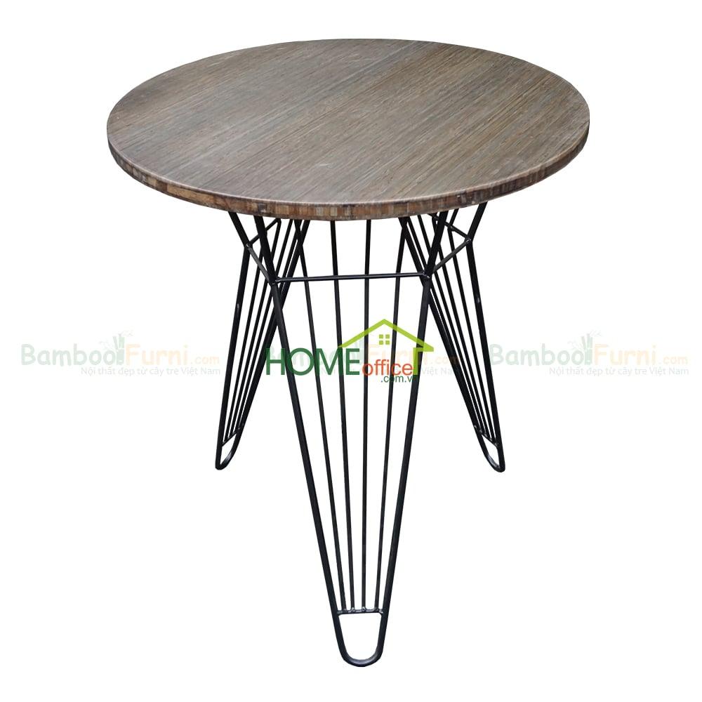 CFB002 Bàn cafe gỗ tre chân sắt lap