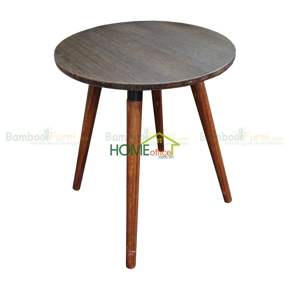 Bàn cafe gỗ tre màu nâu chân gỗ