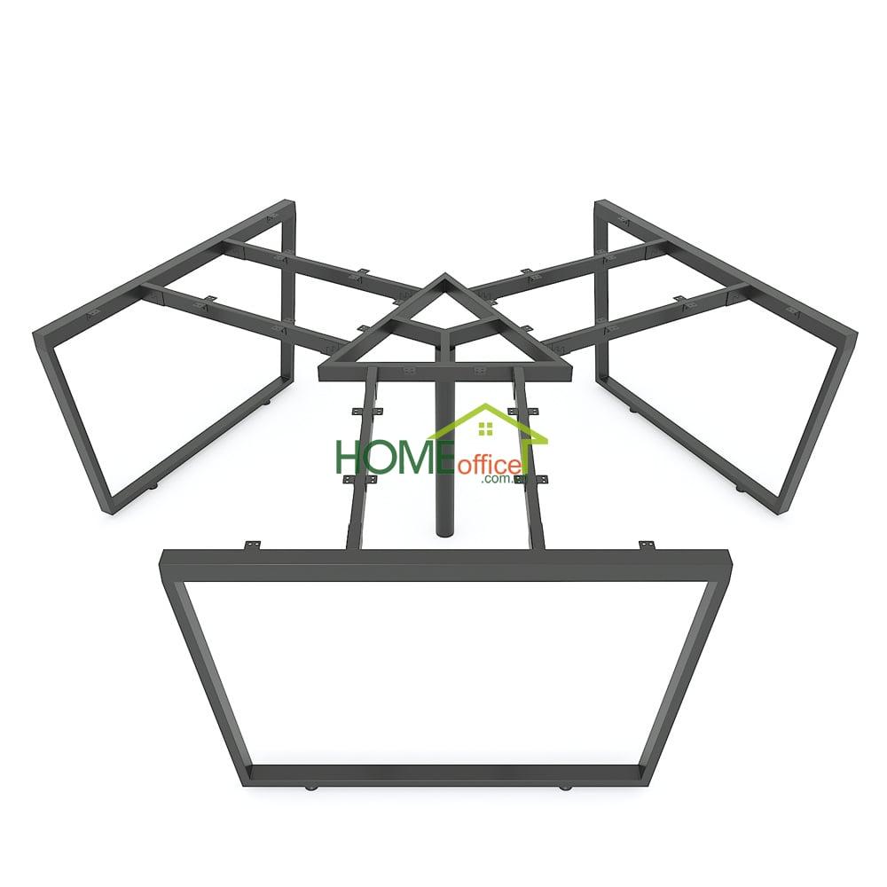 Bàn cụm 3 người 240x208 Trapeze Concept chân sắt lắp ráp