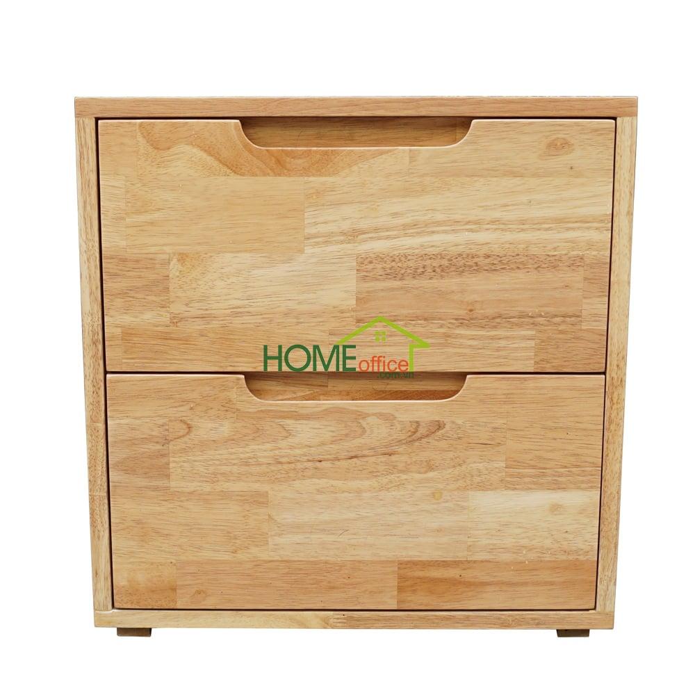 Tủ đầu giường gỗ cao su hai hộc kéo
