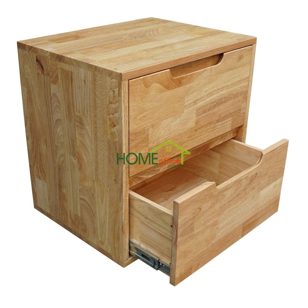 Tủ đầu giường hai hộc kéo gỗ cao su
