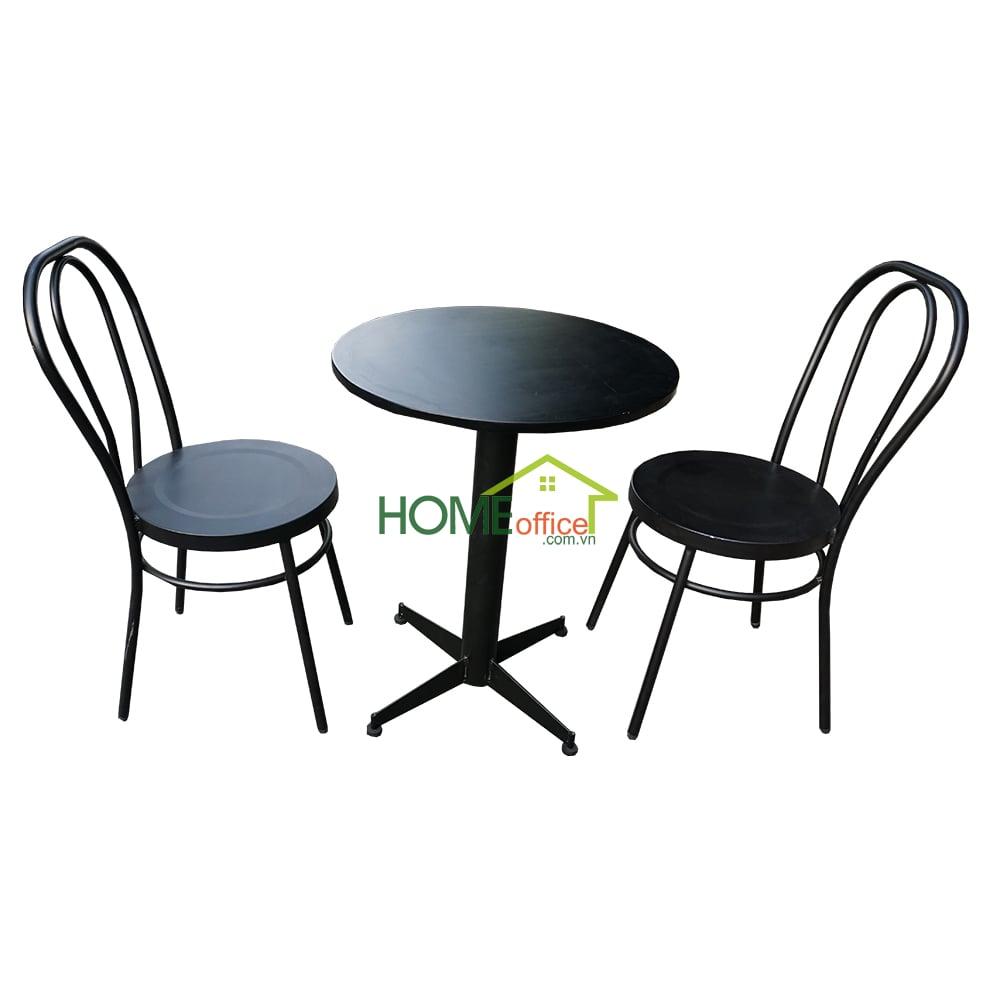 Bộ bàn cafe tròn 60cm gỗ cao su và 2 ghế sắt