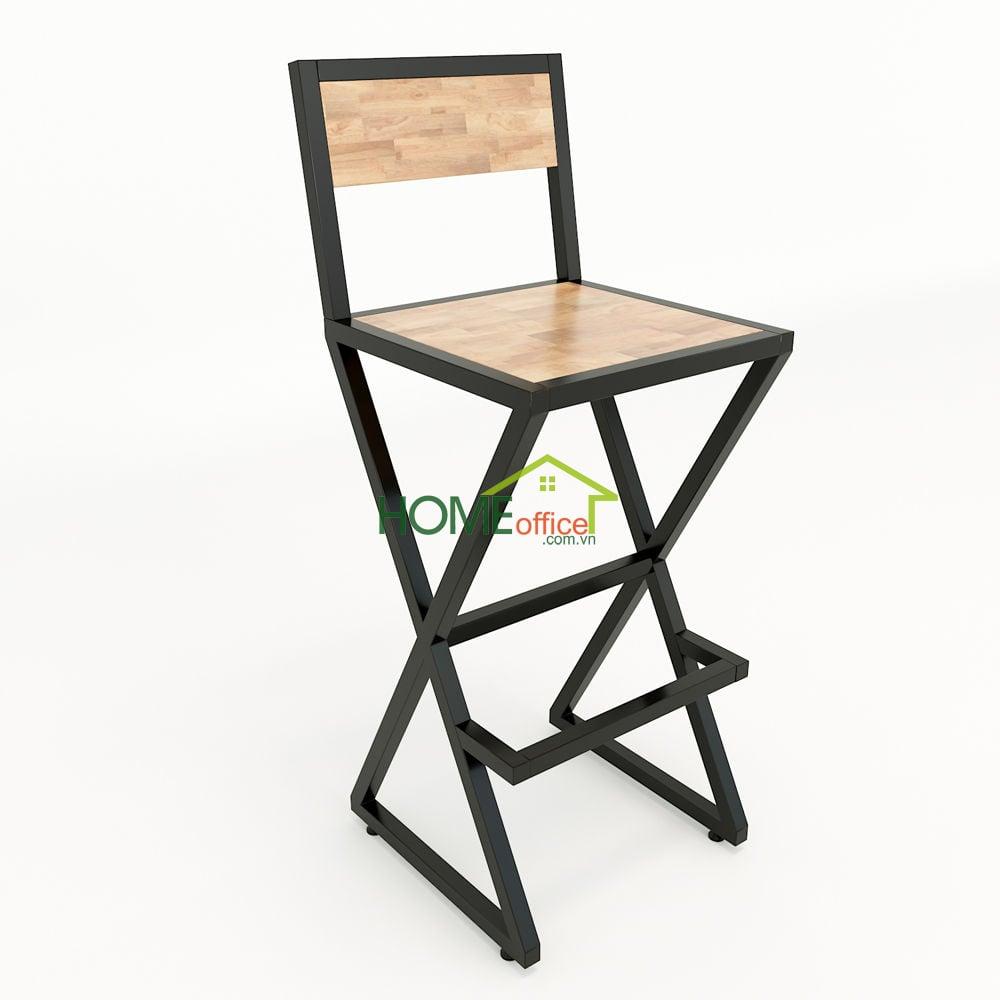 ghế xbar. khung sắt gỗ có lưng