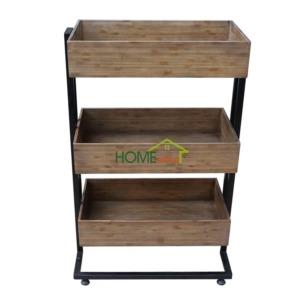 KB68010 - Kệ bếp gỗ tre màu nâu khung sắt 3 tầng ( 50x35x80cm)